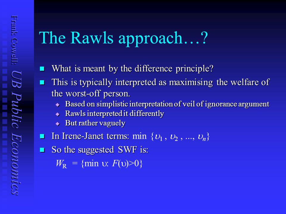 Frank Cowell: UB Public Economics The Rawls approach….