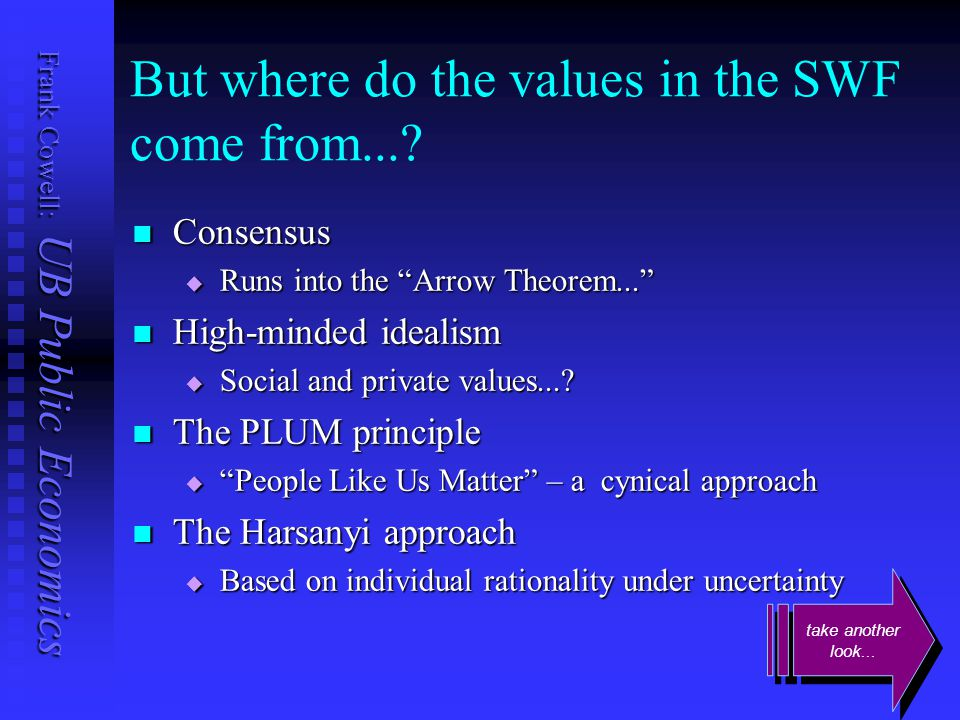 """Frank Cowell: UB Public Economics But where do the values in the SWF come from...? Consensus Consensus  Runs into the """"Arrow Theorem..."""" High-minded"""