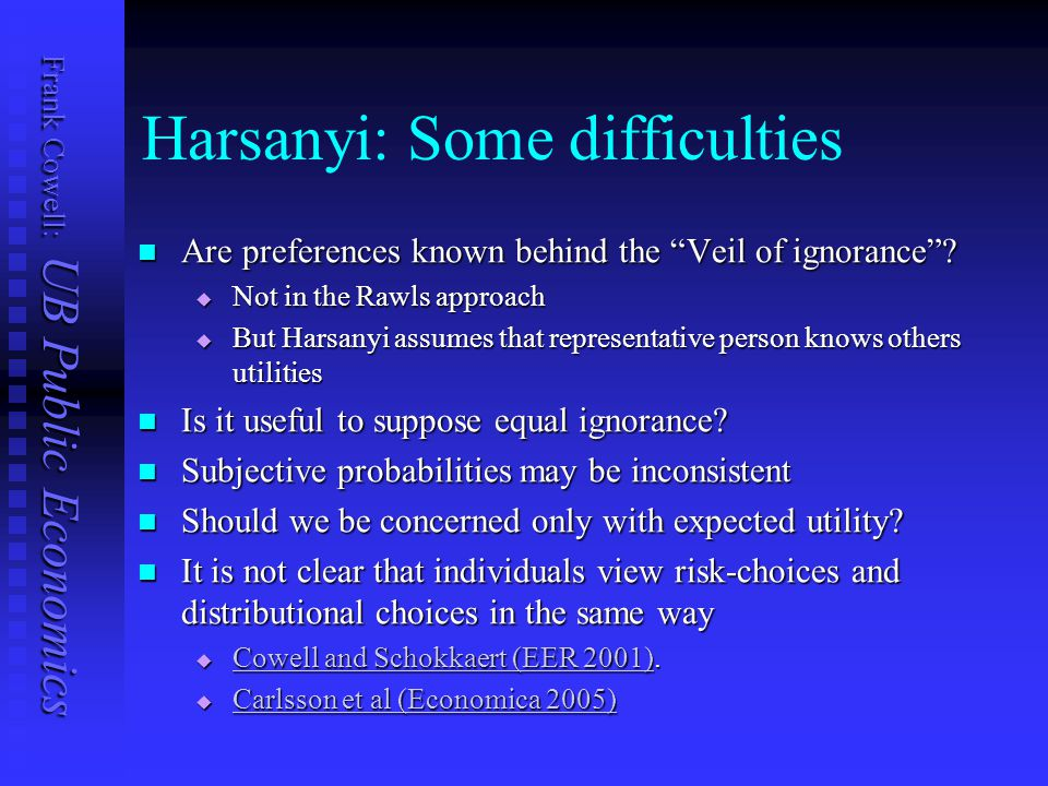 """Frank Cowell: UB Public Economics Harsanyi: Some difficulties Are preferences known behind the """"Veil of ignorance""""? Are preferences known behind the """""""