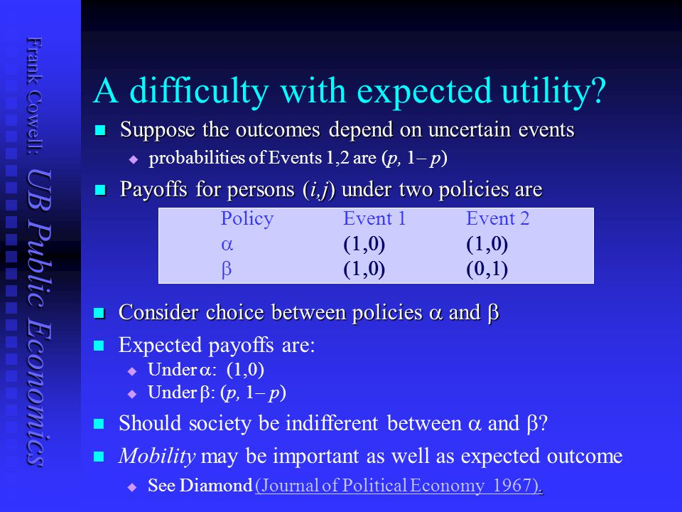 Frank Cowell: UB Public Economics A difficulty with expected utility? Suppose the outcomes depend on uncertain events Suppose the outcomes depend on u