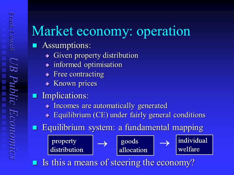 Frank Cowell: UB Public Economics Market economy: operation Assumptions: Assumptions:  Given property distribution  informed optimisation  Free contracting  Known prices Implications: Implications:  Incomes are automatically generated  Equilibrium (CE) under fairly general conditions Equilibrium system: a fundamental mapping Equilibrium system: a fundamental mapping property distribution  goods allocation individual welfare  Is this a means of steering the economy.