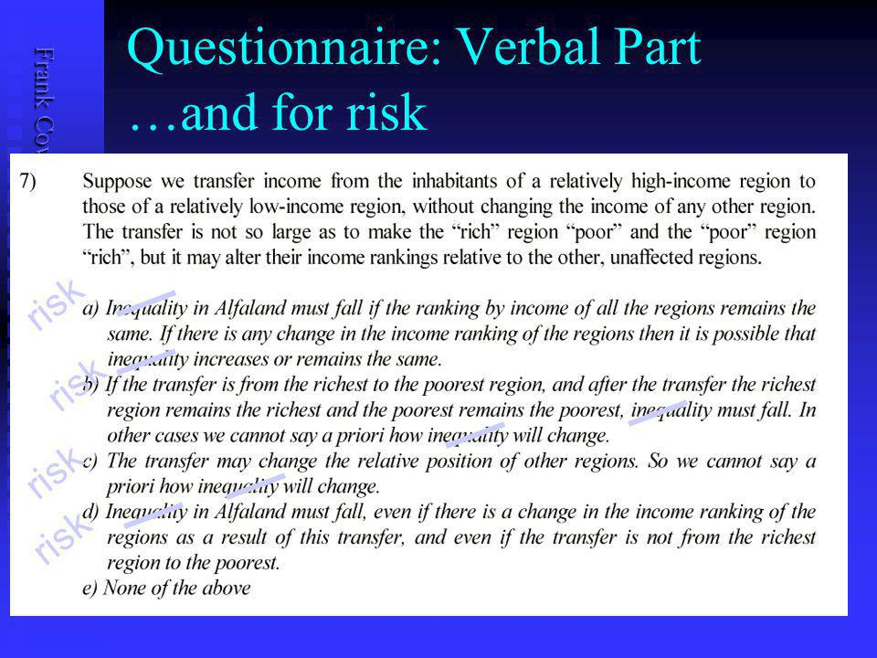 Frank Cowell: UB Public Economics Features of Questionnaire 2 Check the numerical responses with a verbal question Check the numerical responses with a verbal question Using the same story we present the issue of the principle of transfers Using the same story we present the issue of the principle of transfers Then see if they want to change their minds on the numerical problems Then see if they want to change their minds on the numerical problems