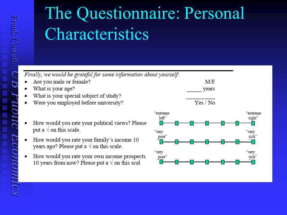 Frank Cowell: UB Public Economics Questionnaire: A Check
