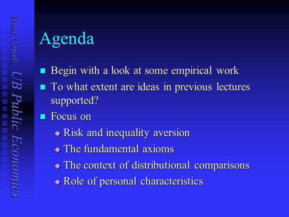 Frank Cowell: UB Public Economics Overview... Experimental approaches Deprivation Complaints Claims Deprivation, complaints, inequality Background to