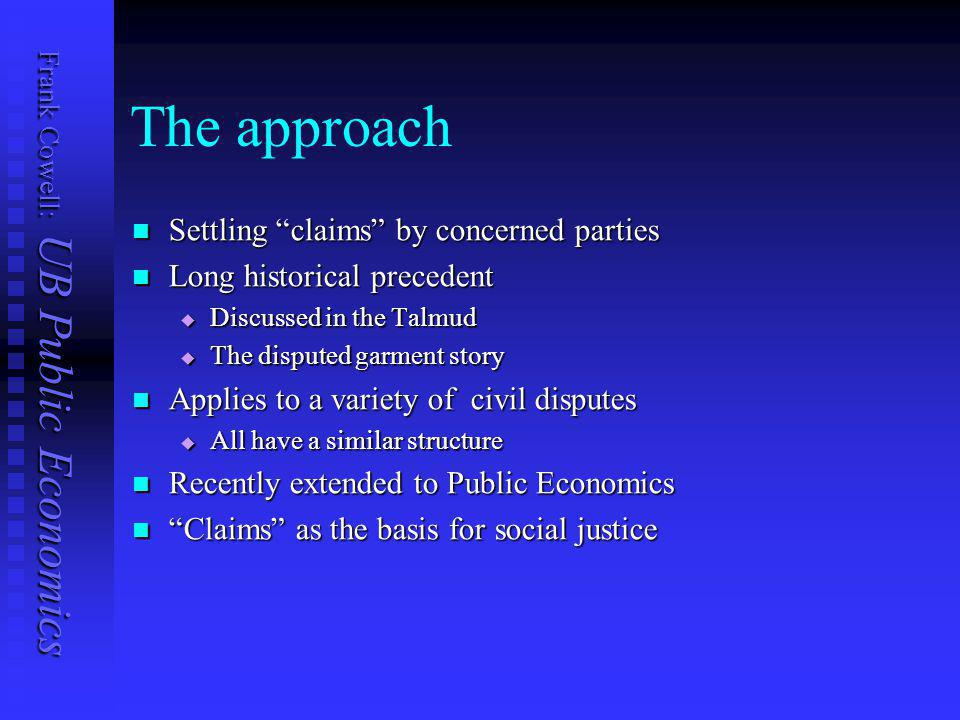 Frank Cowell: UB Public Economics Overview... Experimental approaches Deprivation Complaints Claims Deprivation, complaints, inequality New insight on