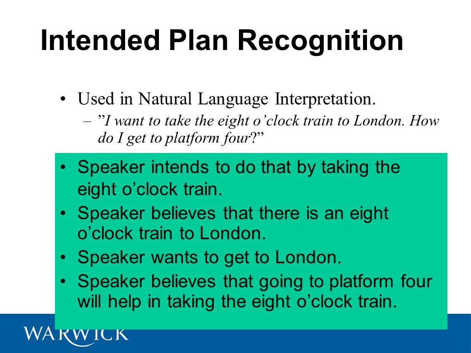 Intended Plan Recognition Speaker intends to do that by taking the eight o'clock train.