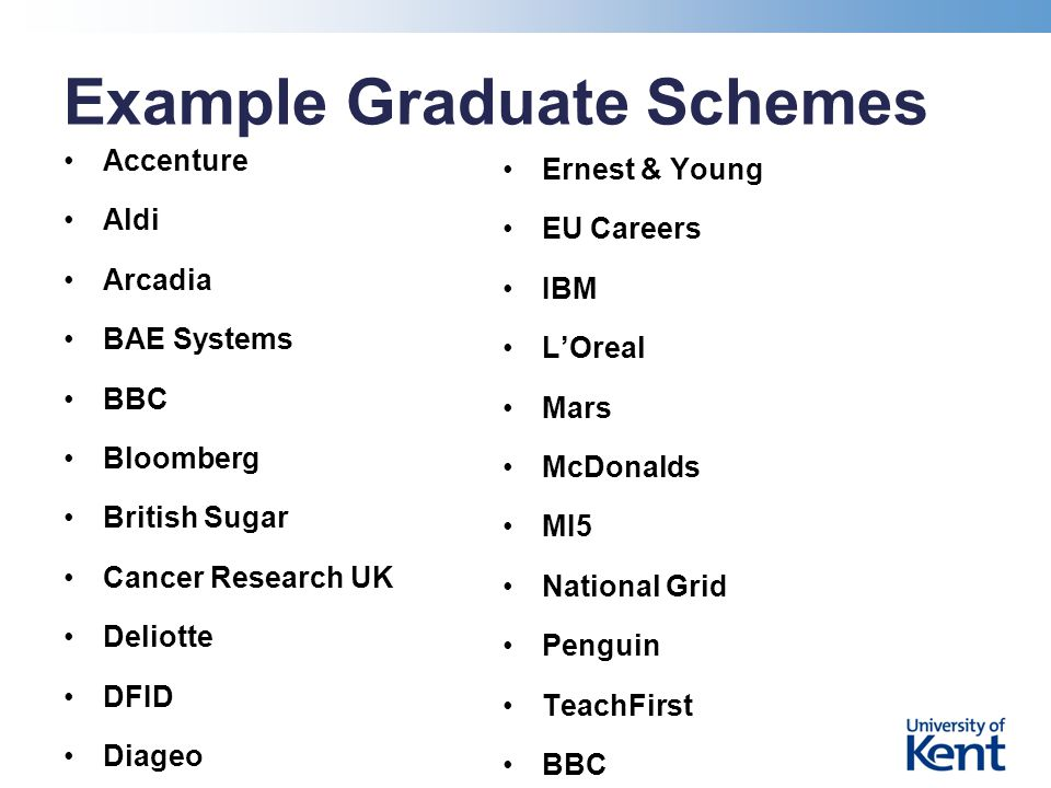 Example Graduate Schemes Accenture Aldi Arcadia BAE Systems BBC Bloomberg British Sugar Cancer Research UK Deliotte DFID Diageo Ernest & Young EU Careers IBM L'Oreal Mars McDonalds MI5 National Grid Penguin TeachFirst BBC