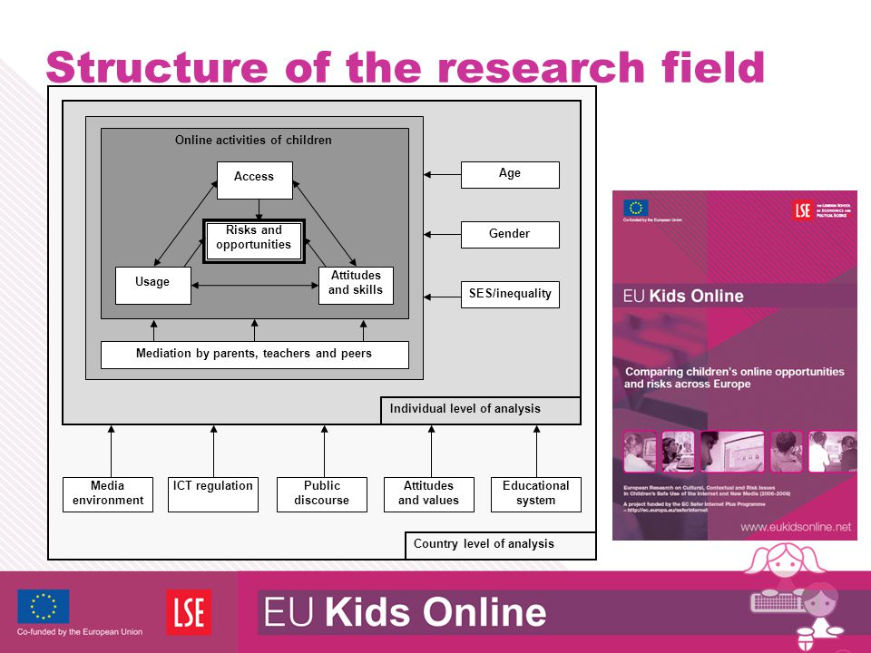 Structure of the research field Media environment Mediation by parents, teachers and peers Online activities of children Usage Attitudes and skills Ri