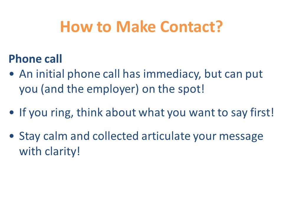 How to Make Contact.