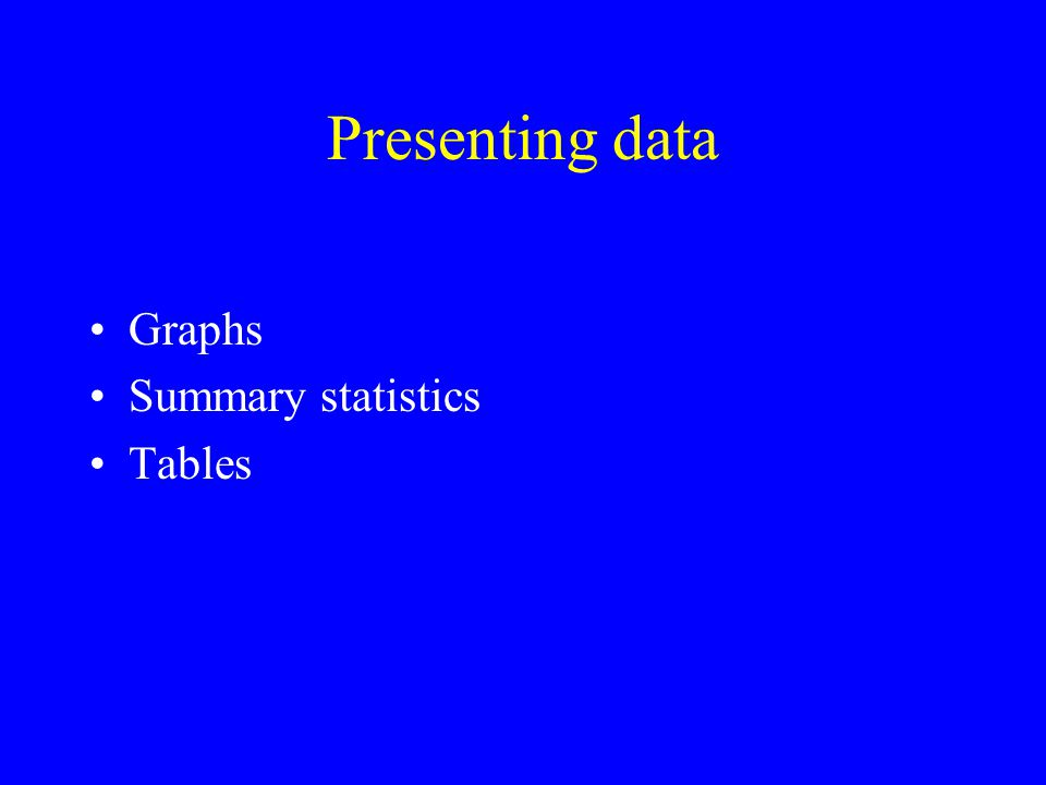 Presenting data Graphs Summary statistics Tables