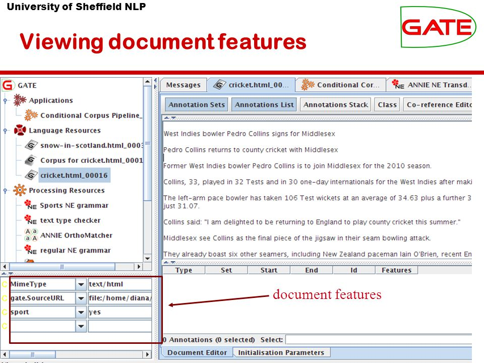 University of Sheffield NLP Viewing document features document features