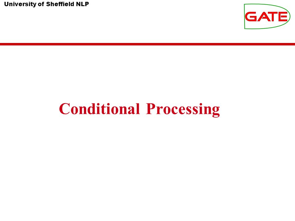 University of Sheffield NLP What is conditional processing.