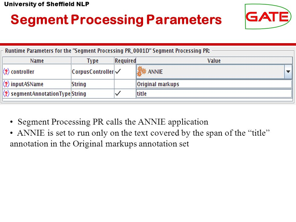 University of Sheffield NLP Segment Processing Parameters Segment Processing PR calls the ANNIE application ANNIE is set to run only on the text covered by the span of the title annotation in the Original markups annotation set