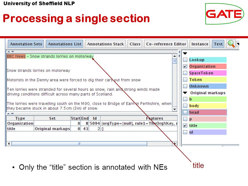 University of Sheffield NLP Processing a single section Only the title section is annotated with NEs title