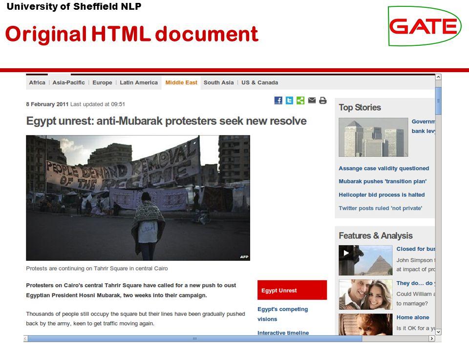 University of Sheffield NLP Original HTML document