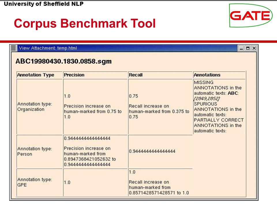 University of Sheffield NLP Corpus Benchmark Tool