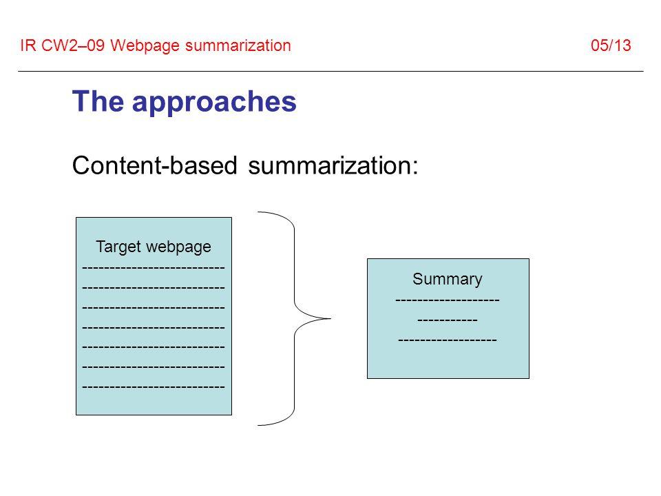 IR CW2–09 Webpage summarization 05/13 The approaches Content-based summarization: Target webpage -------------------------- Summary ------------------- ----------- ------------------