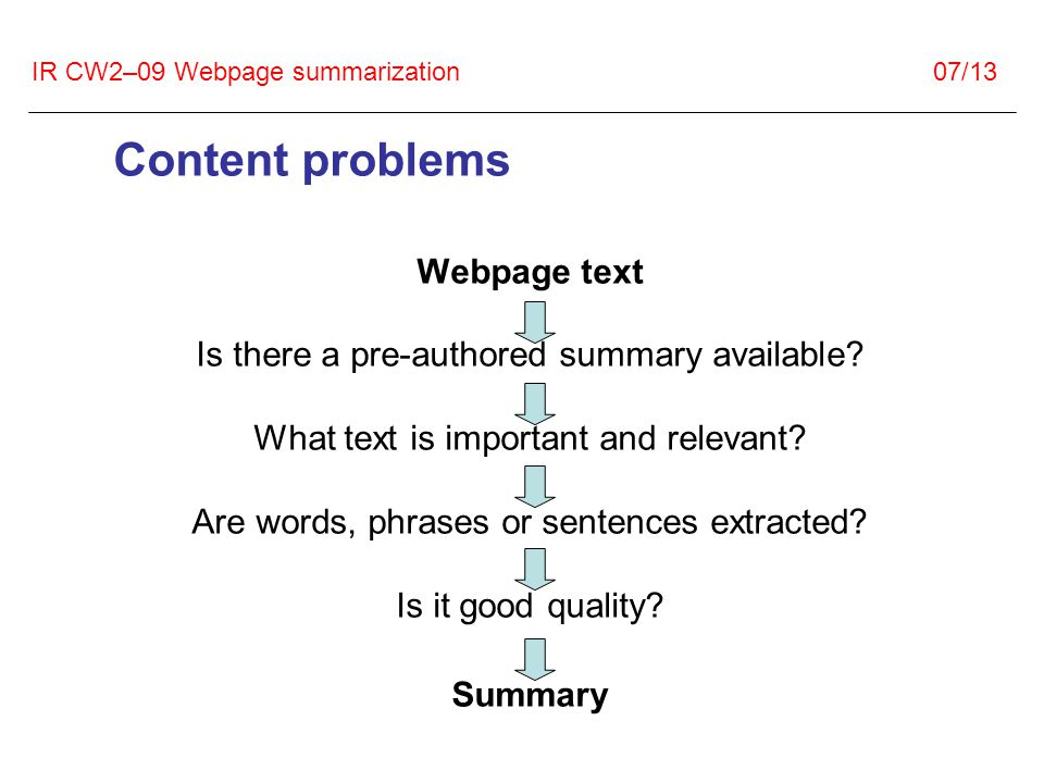 IR CW2–09 Webpage summarization 07/13 Content problems Webpage text Is there a pre-authored summary available.