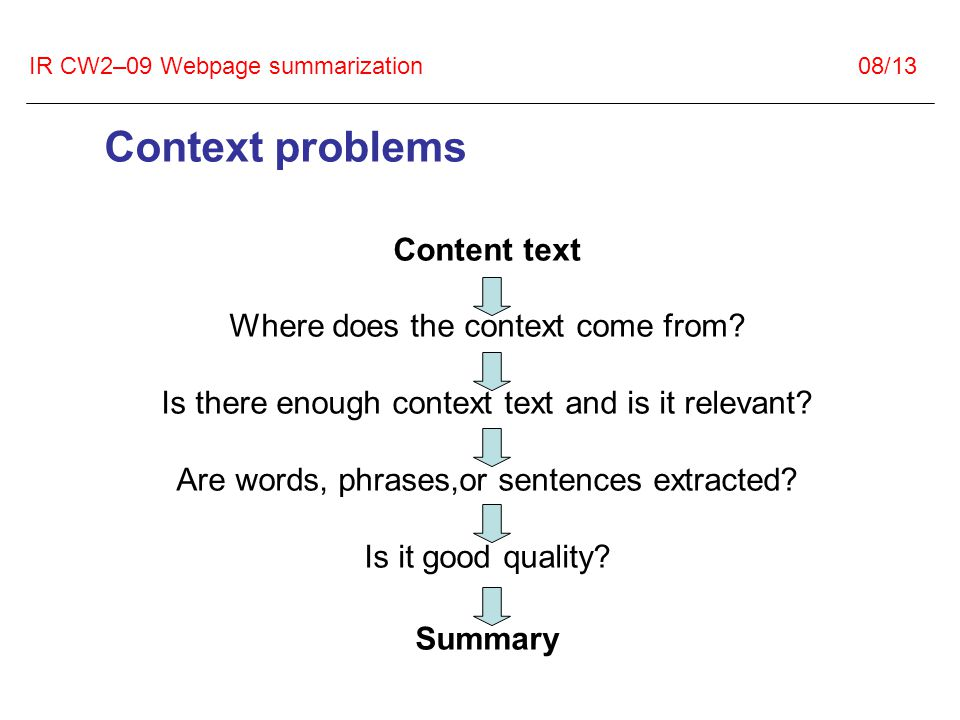 IR CW2–09 Webpage summarization 08/13 Context problems Content text Where does the context come from.