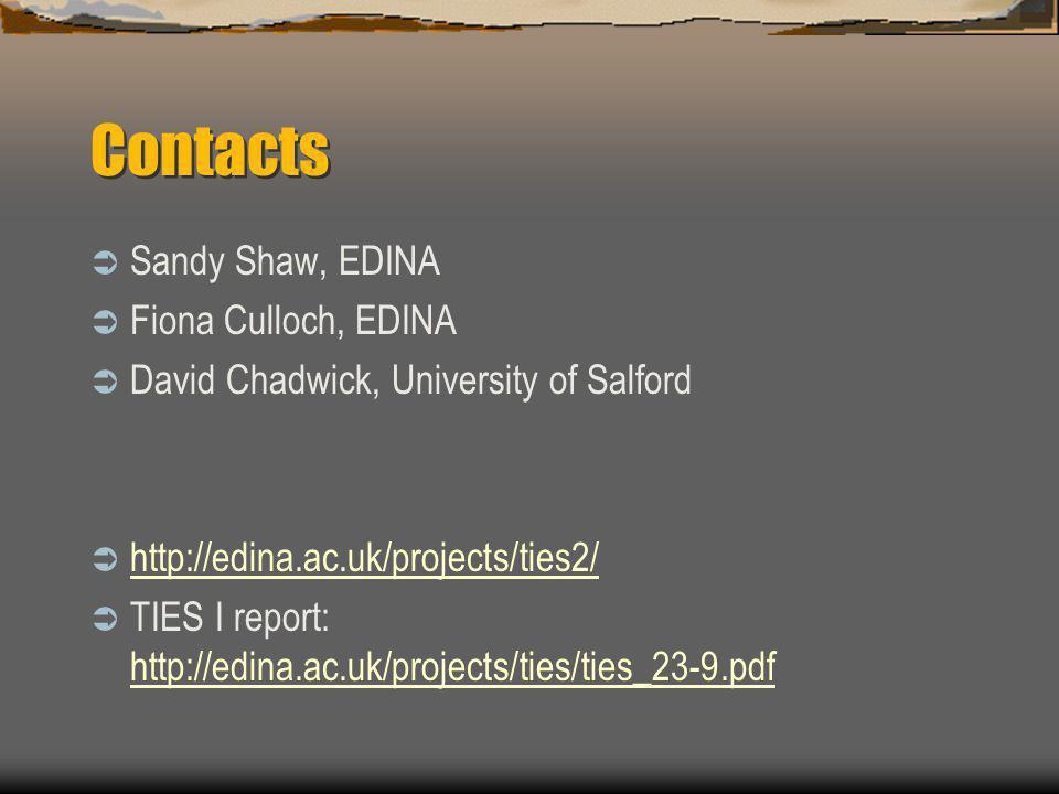 Contacts  Sandy Shaw, EDINA  Fiona Culloch, EDINA  David Chadwick, University of Salford  http://edina.ac.uk/projects/ties2/ http://edina.ac.uk/projects/ties2/  TIES I report: http://edina.ac.uk/projects/ties/ties_23-9.pdf http://edina.ac.uk/projects/ties/ties_23-9.pdf
