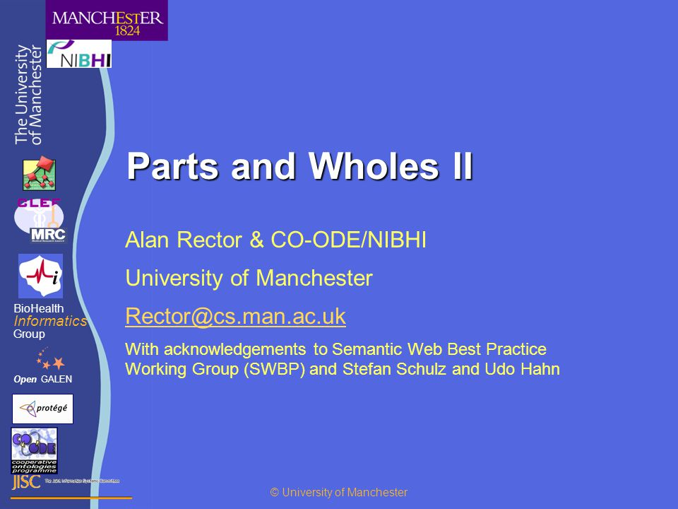 Parts and Wholes II Alan Rector & CO-ODE/NIBHI University of Manchester With acknowledgements to Semantic Web Best Practice Working Group (SWBP) and Stefan Schulz and Udo Hahn OpenGALEN BioHealth Informatics Group © University of Manchester