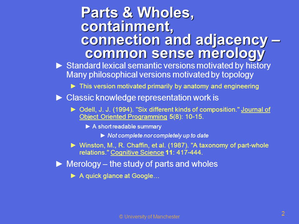 2 Parts & Wholes, containment, connection and adjacency – common sense merology ►Standard lexical semantic versions motivated by history Many philosop