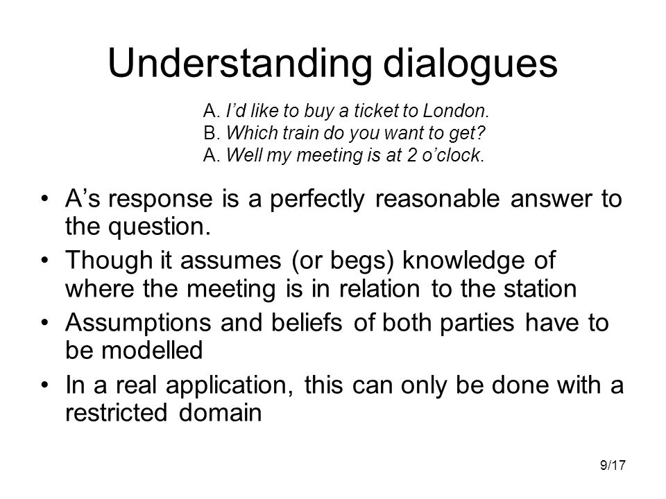 9/17 Understanding dialogues A's response is a perfectly reasonable answer to the question.