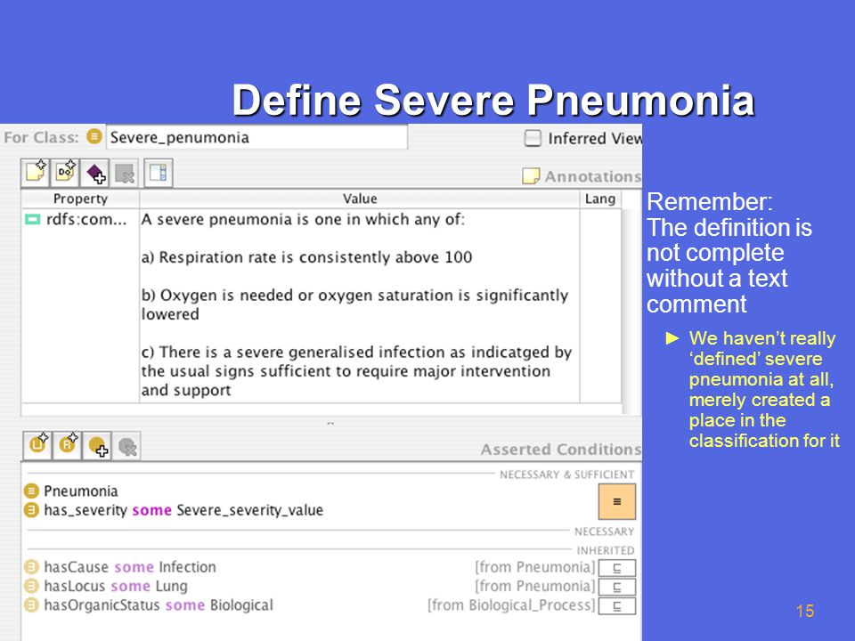 © University of Manchester 15 Define Severe Pneumonia ►Remember: The definition is not complete without a text comment ►We haven't really 'defined' severe pneumonia at all, merely created a place in the classification for it