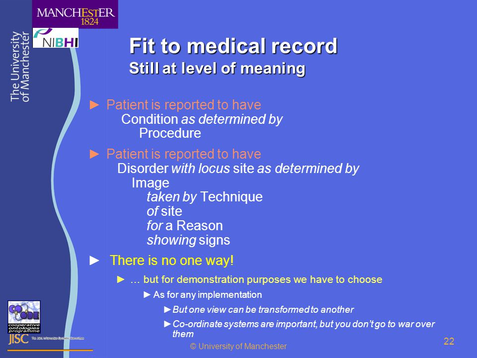 © University of Manchester 22 Fit to medical record Still at level of meaning ►Patient is reported to have Condition as determined by Procedure ►Patient is reported to have Disorder with locus site as determined by Image taken by Technique of site for a Reason showing signs ► There is no one way.