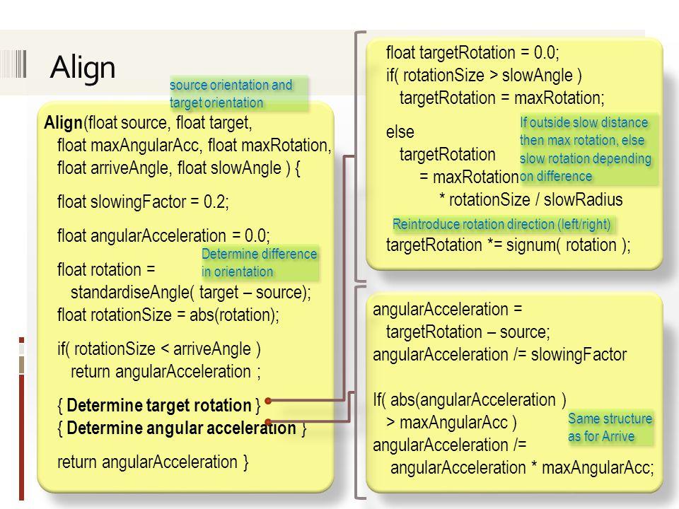 Align (float source, float target, float maxAngularAcc, float maxRotation, float arriveAngle, float slowAngle ) { float slowingFactor = 0.2; float ang