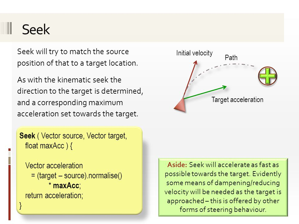 Seek will try to match the source position of that to a target location. As with the kinematic seek the direction to the target is determined, and a c