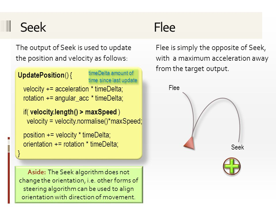 The output of Seek is used to update the position and velocity as follows: UpdatePosition () { velocity += acceleration * timeDelta; rotation += angular_acc * timeDelta; if( velocity.length() > maxSpeed ) velocity = velocity.normalise()*maxSpeed; position += velocity * timeDelta; orientation += rotation * timeDelta; } Flee is simply the opposite of Seek, with a maximum acceleration away from the target output.