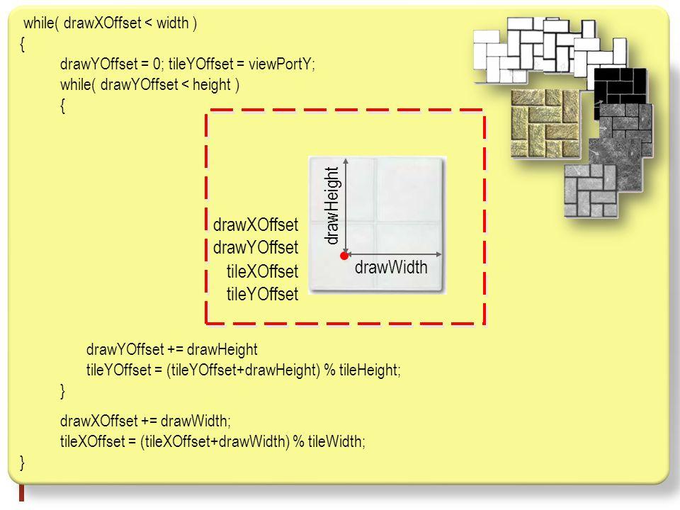 while( drawXOffset < width ) { drawYOffset = 0; tileYOffset = viewPortY; while( drawYOffset < height ) { drawYOffset += drawHeight tileYOffset = (tileYOffset+drawHeight) % tileHeight; } drawXOffset += drawWidth; tileXOffset = (tileXOffset+drawWidth) % tileWidth; } drawWidth drawXOffset drawYOffset tileXOffset tileYOffset drawHeight
