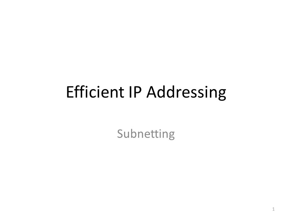 Efficient IP Addressing Subnetting 1