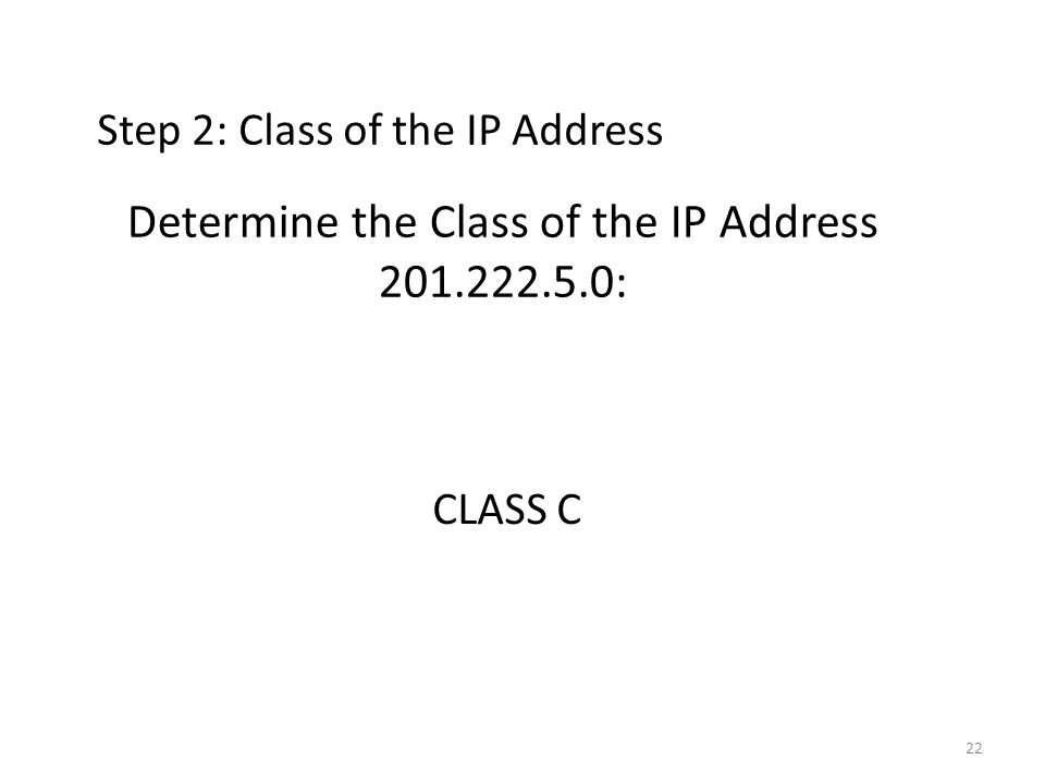Determine the Class of the IP Address 201.222.5.0: CLASS C Step 2: Class of the IP Address 22