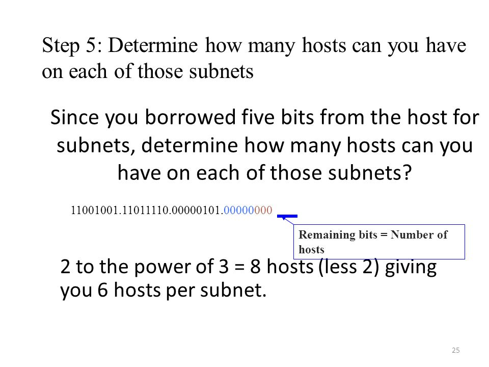 Since you borrowed five bits from the host for subnets, determine how many hosts can you have on each of those subnets? 2 to the power of 3 = 8 hosts