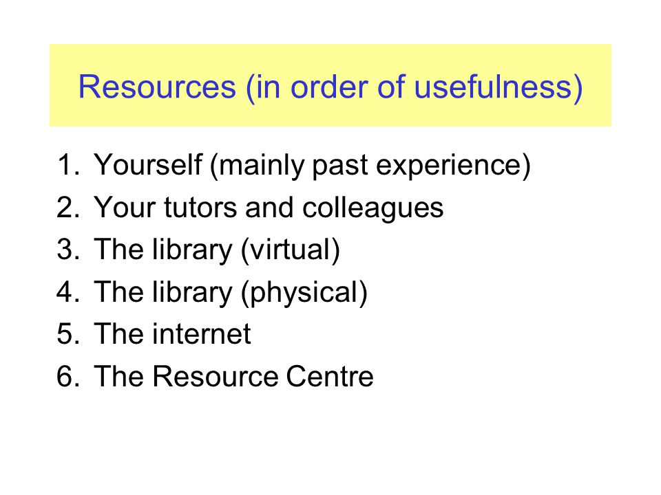 Resources (in order of usefulness) 1.Yourself (mainly past experience) 2.Your tutors and colleagues 3.The library (virtual) 4.The library (physical) 5.The internet 6.The Resource Centre