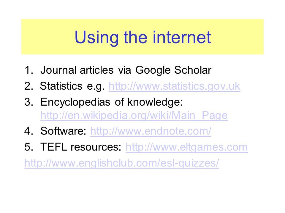 Using the internet 1.Journal articles via Google Scholar 2.