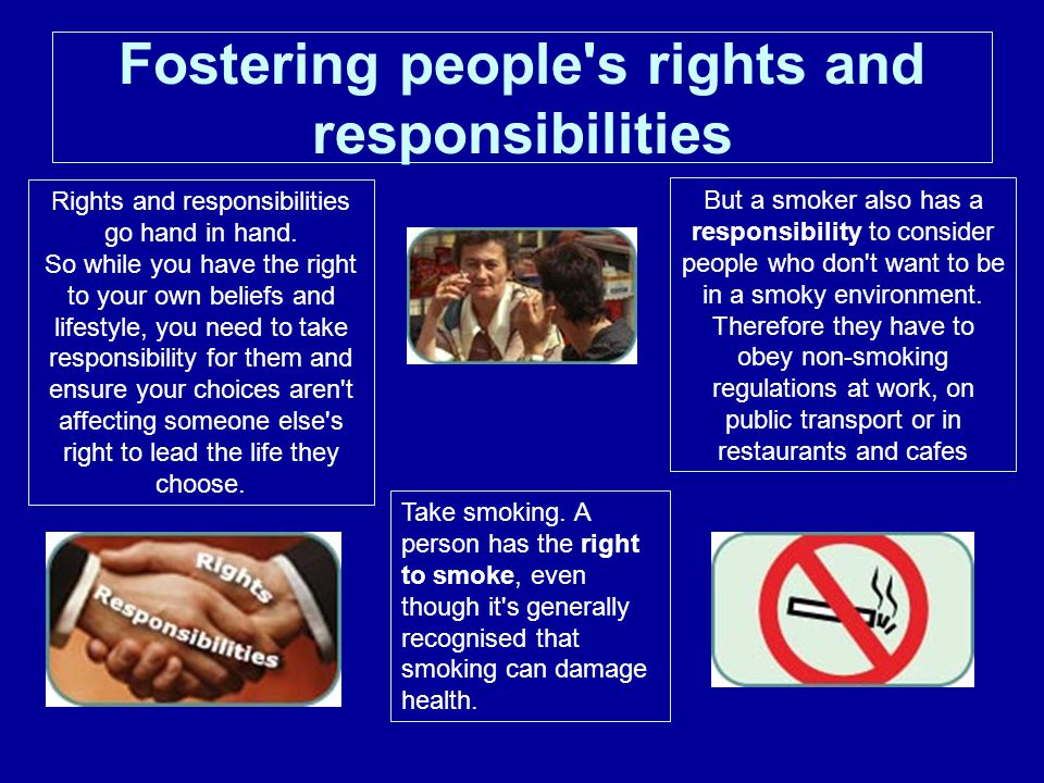 Fostering people s rights and responsibilities Rights and responsibilities go hand in hand.