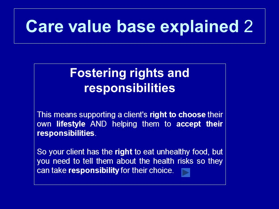 Care value base explained 2 Fostering rights and responsibilities This means supporting a client s right to choose their own lifestyle AND helping them to accept their responsibilities.