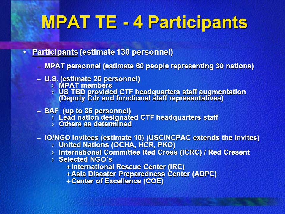 MPAT TE - 4 Participants Participants (estimate 130 personnel)Participants (estimate 130 personnel) – MPAT personnel (estimate 60 people representing