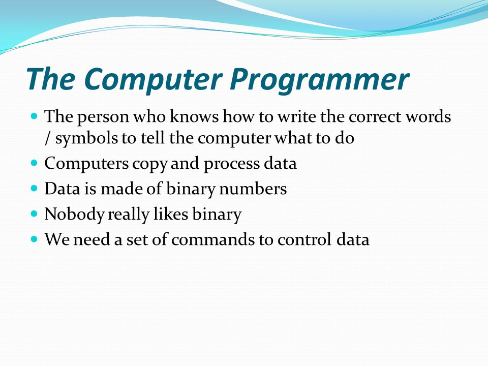The Computer Programmer The person who knows how to write the correct words / symbols to tell the computer what to do Computers copy and process data Data is made of binary numbers Nobody really likes binary We need a set of commands to control data