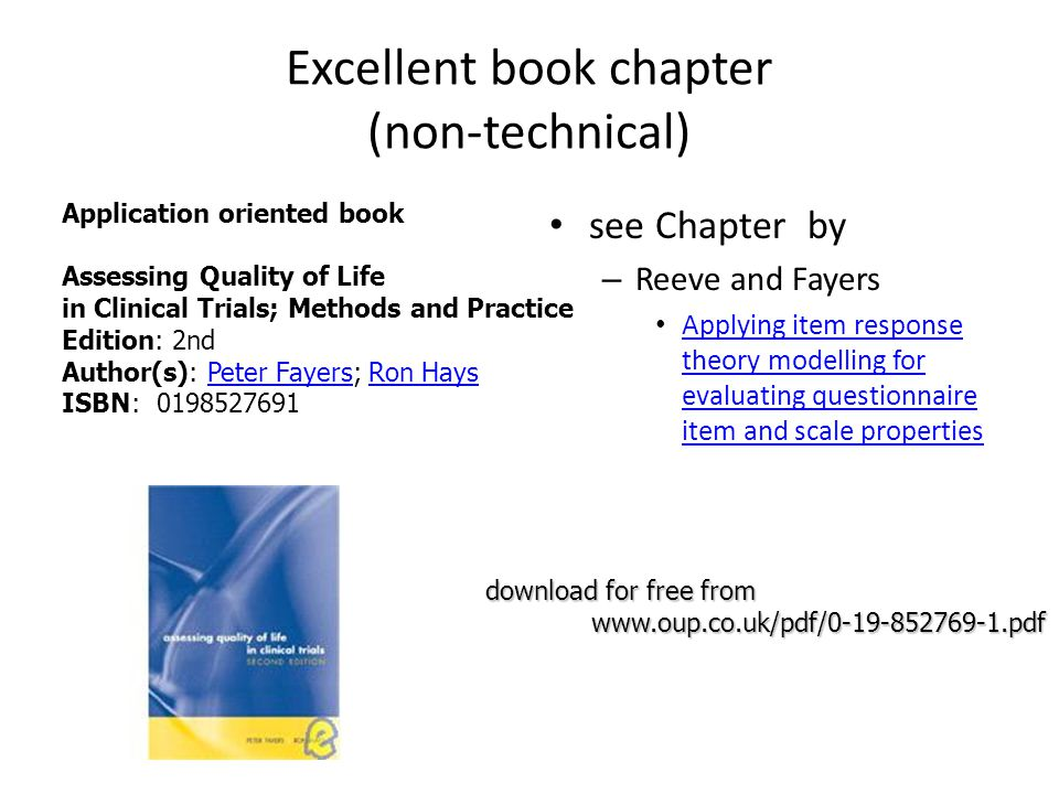 Excellent book chapter (non-technical) see Chapter by – Reeve and Fayers Applying item response theory modelling for evaluating questionnaire item and