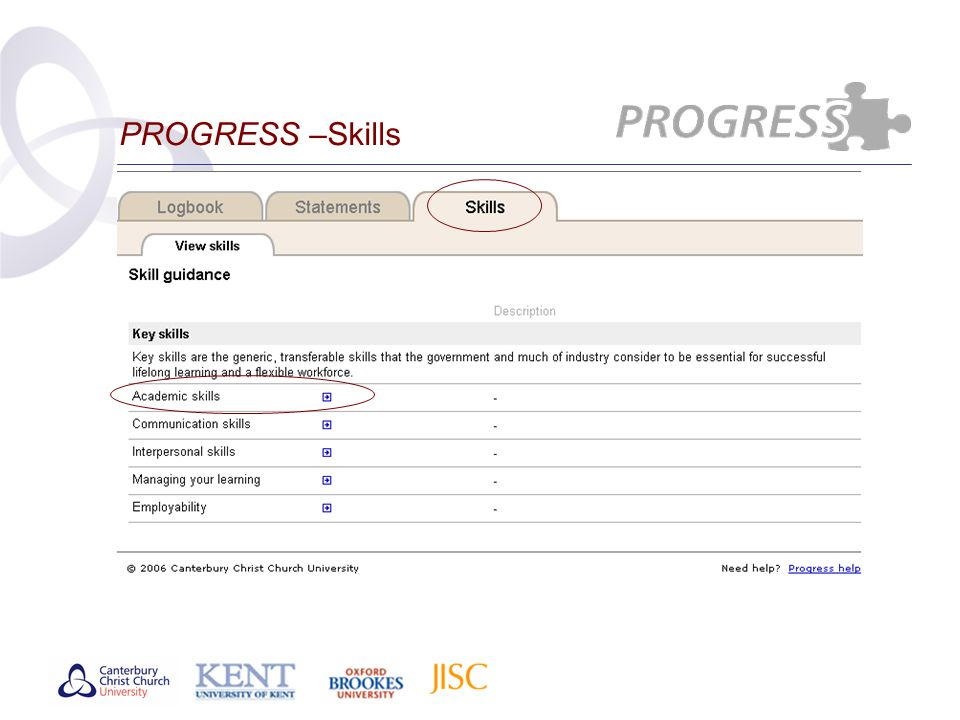 PROGRESS –Skills