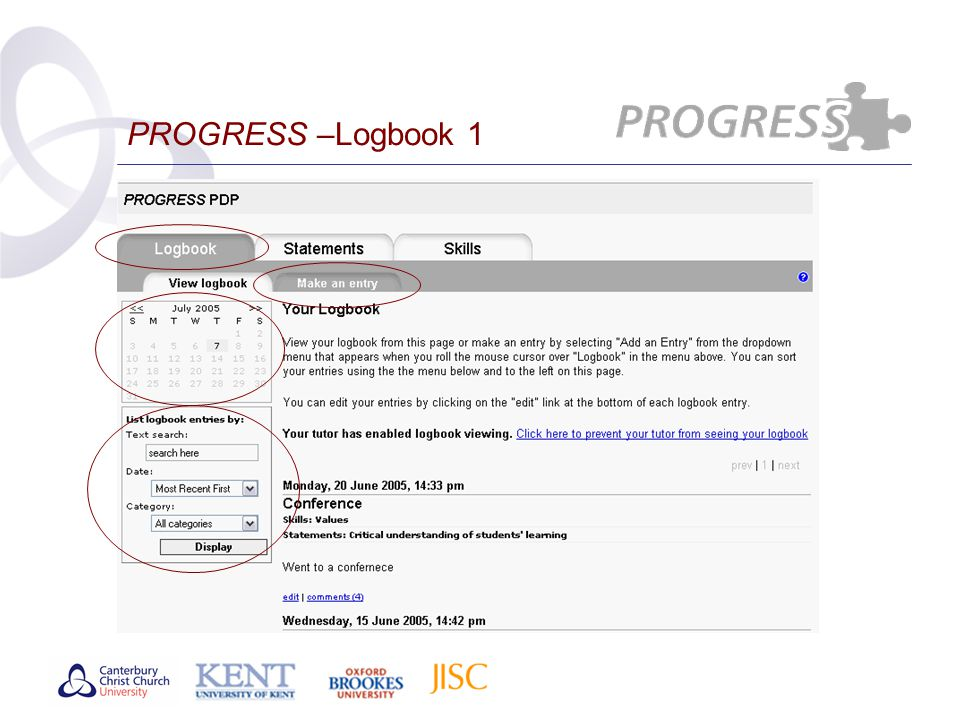 PROGRESS –Logbook 1