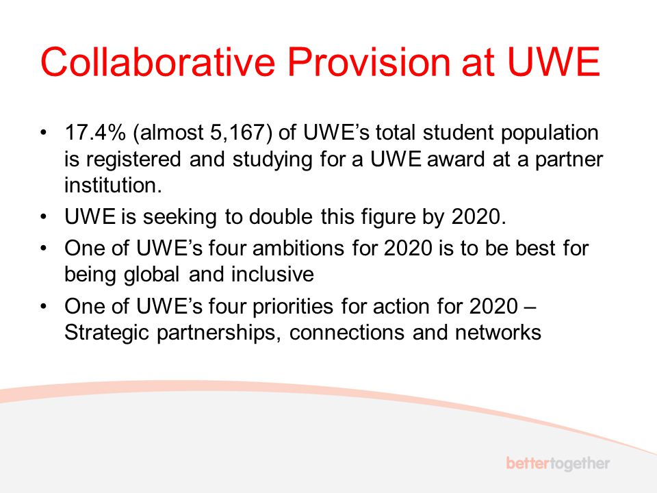 Collaborative Provision at UWE 17.4% (almost 5,167) of UWE's total student population is registered and studying for a UWE award at a partner institut