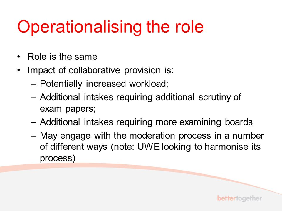 Operationalising the role Role is the same Impact of collaborative provision is: –Potentially increased workload; –Additional intakes requiring additi