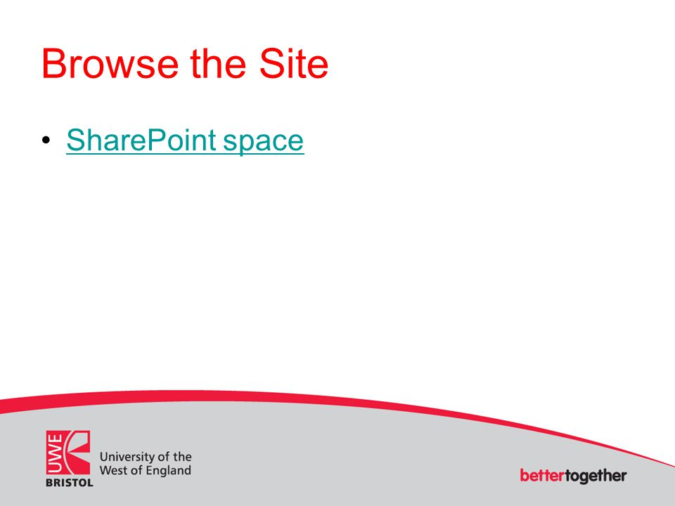 Browse the Site SharePoint space