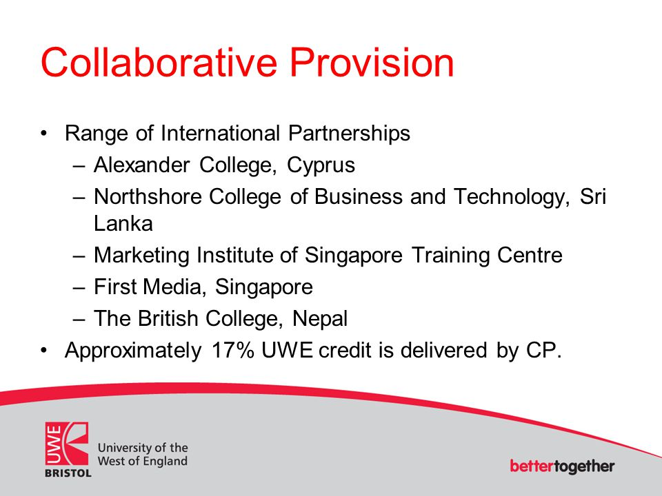 Collaborative Provision Range of International Partnerships –Alexander College, Cyprus –Northshore College of Business and Technology, Sri Lanka –Mark