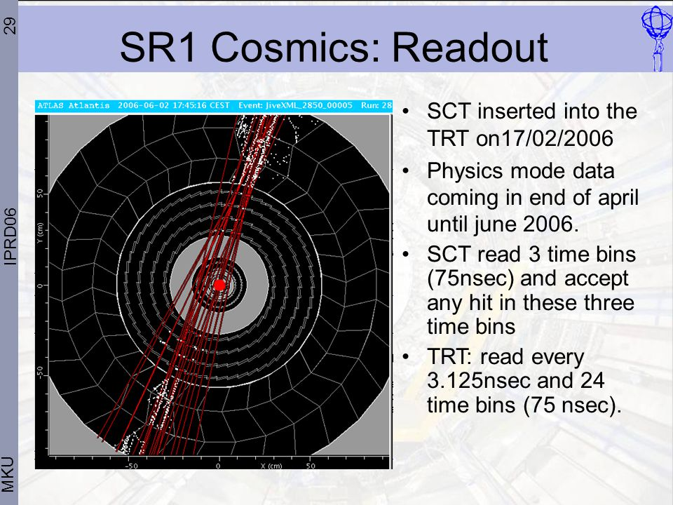 29 MKU IPRD06 SR1 Cosmics: Readout SCT inserted into the TRT on17/02/2006 Physics mode data coming in end of april until june 2006.